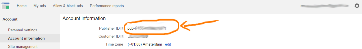 Hier vind je je PublisherID bij Google AdSense.