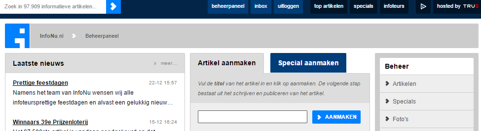 Screenshot voor infoteurs InfoNu